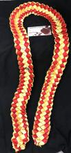 Double ribbon lei - red/gold