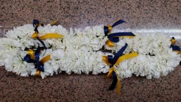 Lei with school ribbon