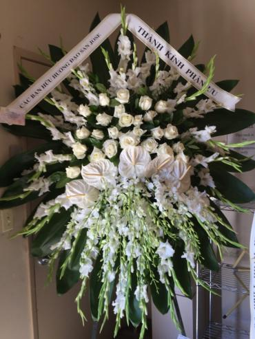 All white with white anthiriums