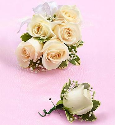 White Rose Corsage & Boutonniere