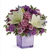 Pleasing Purple Bouquet - Cube