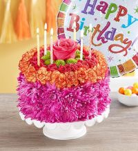 Birthday Wishes Flower Cake - Vibrant