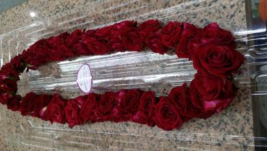 Red roses double lei