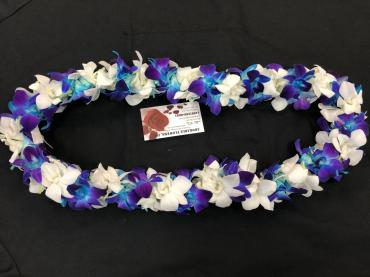 Blue/white orchid lei