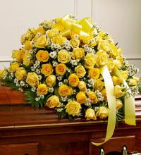 Cherished Memories Rose Half Casket Cover - Yellow