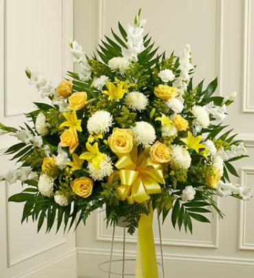 Heartfelt Sympathies Yellow Standing Basket